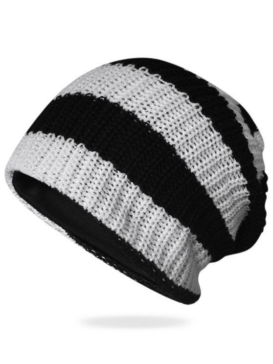 Padrão listrado Decorado Crochet Knitting Thicken Beanie - Preto