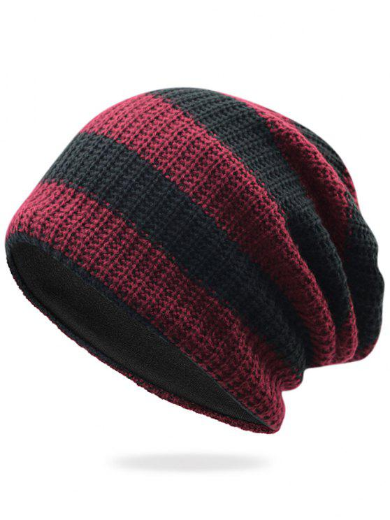 ladies Striped Pattern Decorated Crochet Knitting Thicken Beanie - WINE RED