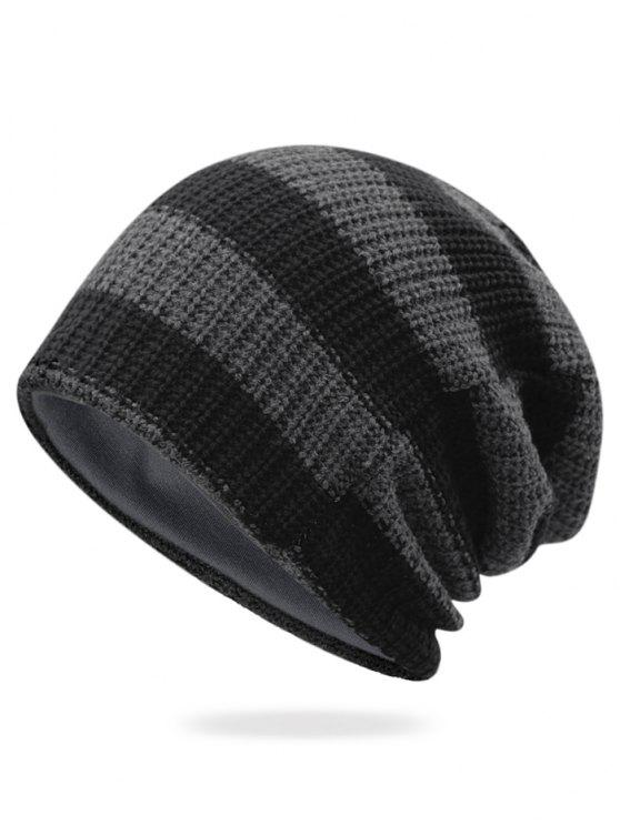 online Striped Pattern Decorated Crochet Knitting Thicken Beanie - DARK GRAY