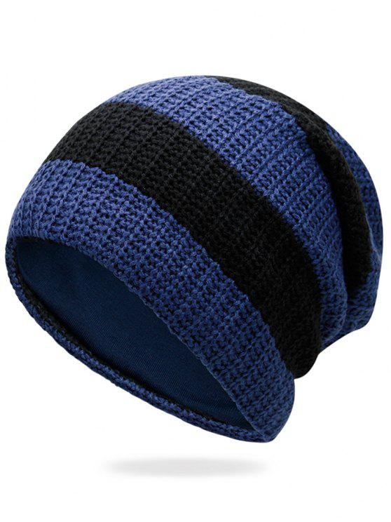 hot Striped Pattern Decorated Crochet Knitting Thicken Beanie - CERULEAN