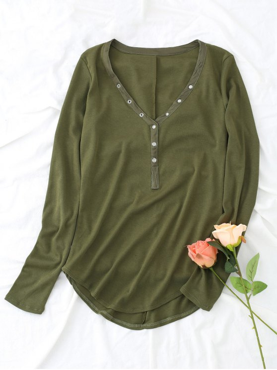 hot Knitted Half Buttoned Top - ARMY GREEN S