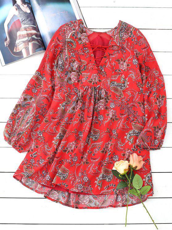 فستان مصغر رباط طباعة الأزهار طويلة الأكمام - أحمر L