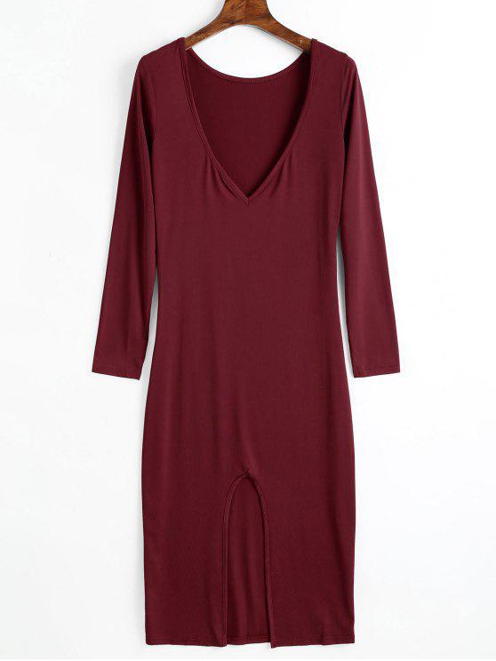 Vestido de manga larga escotado sin espalda - Vino Rojo L