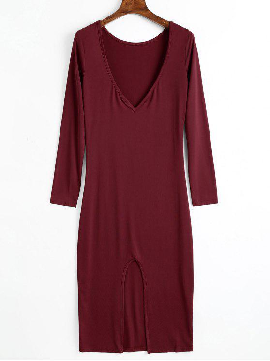 women Backless Cut Out Long Sleeve Dress - WINE RED 2XL
