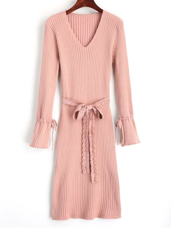 Side Slit Lace Belted Sweater Dress - Rosa Tamanho único