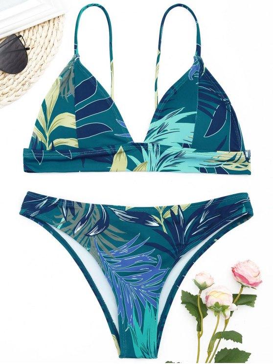 Conjunto de bikini con estampado de hojas - malaquita verde S