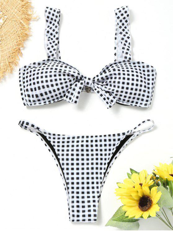 affordable Knotted Plaid Thong Bikini Set - WHITE AND BLACK L