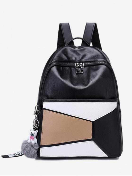 Color Block Geometric Pompom Backpack - Branco