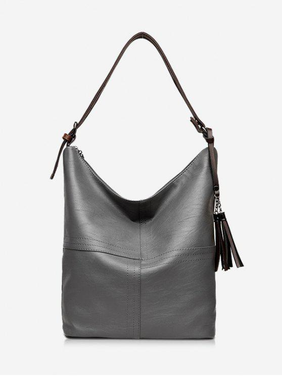Top Zipper Tassels Shoulder Bag - Cinza