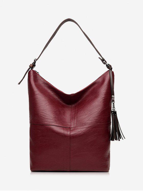 حقيبة كتف بجيوب وسحاب مزينة بشرابة - نبيذ أحمر