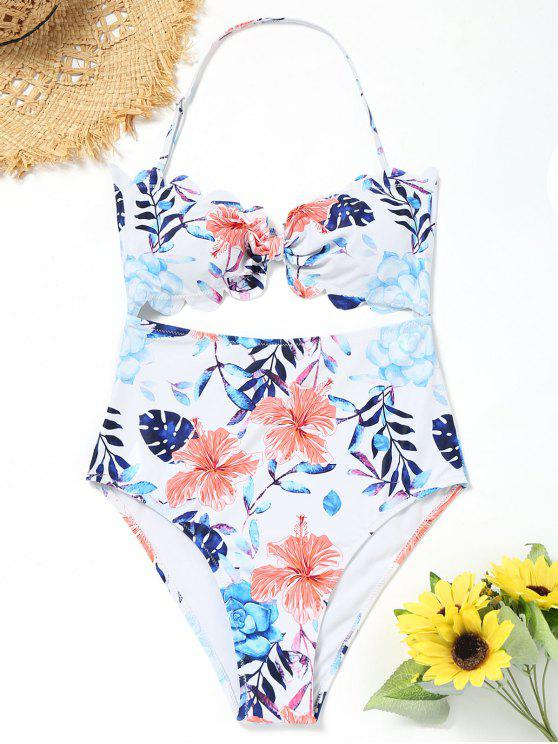 unique High Leg Floral Cut Out Swimsuit - WHITE S