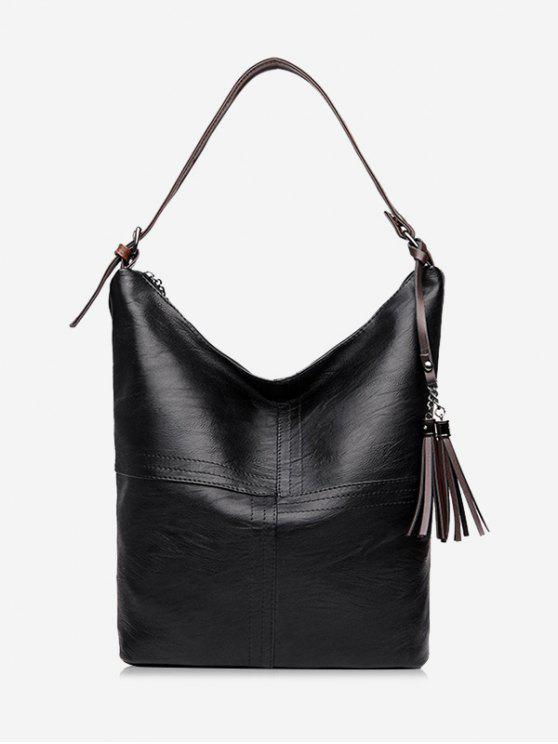 fancy Top Zipper Tassels Shoulder Bag - BLACK