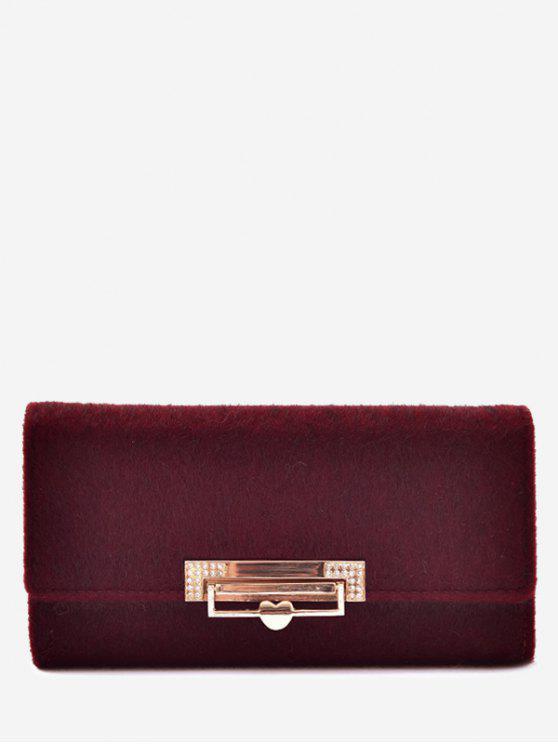 shop Metal Embellished Tri Fold Wallet - RED