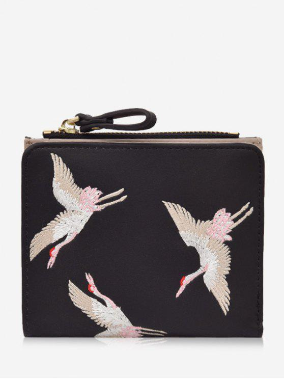 Bi Fold Birds Embroidery Wallet - Preto