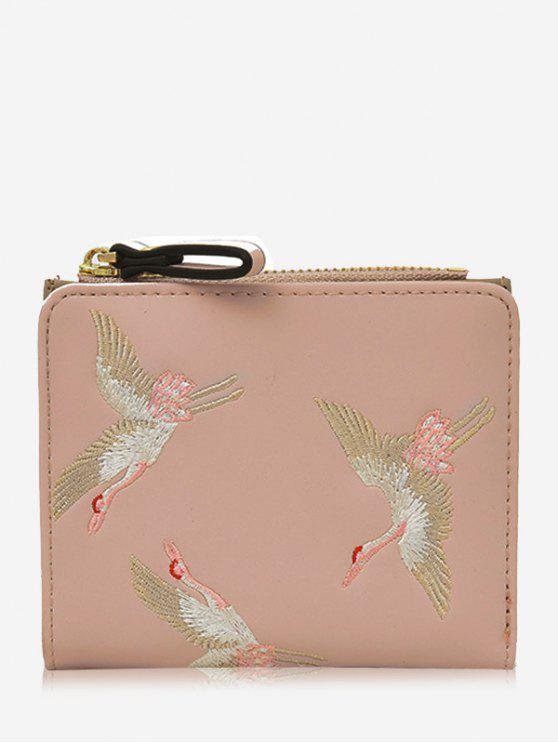 Bi Fold Birds Embroidery Wallet - Rosa