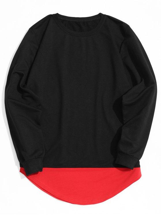 affordable Contrast Hem Crew Neck Sweatshirt - BLACK XL