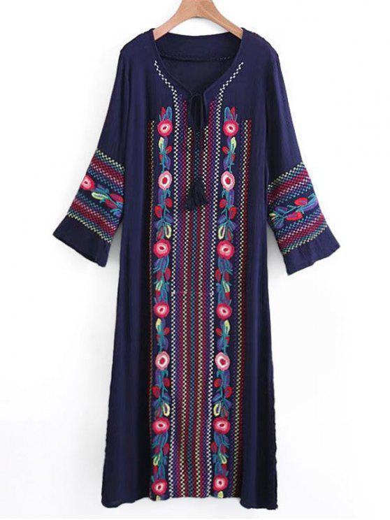 Long Sleeve Embroidered Tassels Maxi Dress - PURPLISH BLUE ONE SIZE