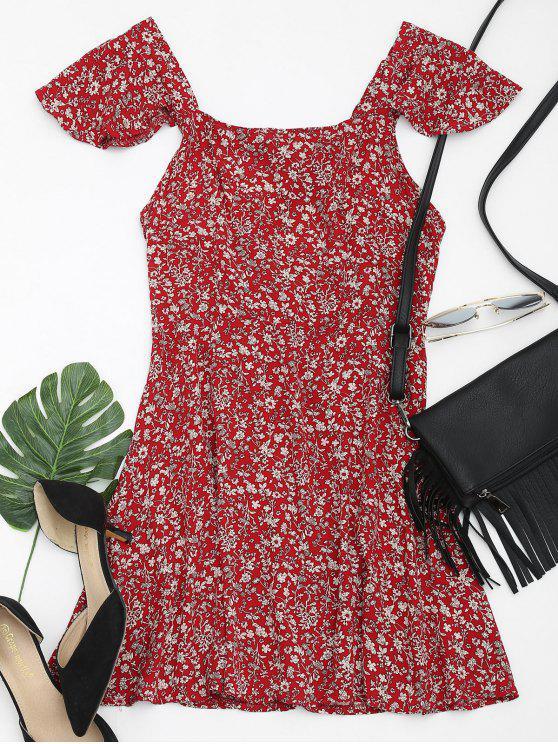 hot Square Collar Criss Cross Floral Print Dress - DEEP RED M