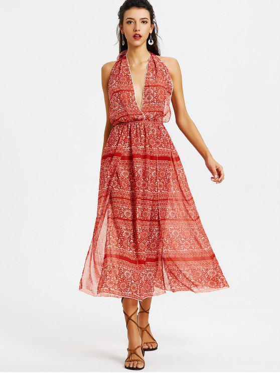 Robe Longue Imprimée à Dos Ouvert - Rouge L