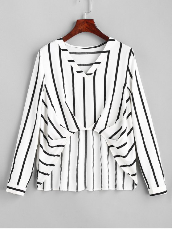 9a34c51451 42% OFF  2018 Ruched Stripes High Low Blouse In STRIPE L