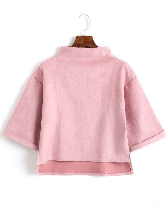 chic High Low Faux Suede Top - PINK ONE SIZE