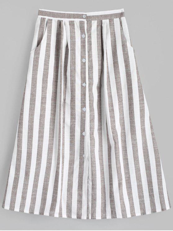 hot High Waist Button Up Striped Skirt - STRIPE M