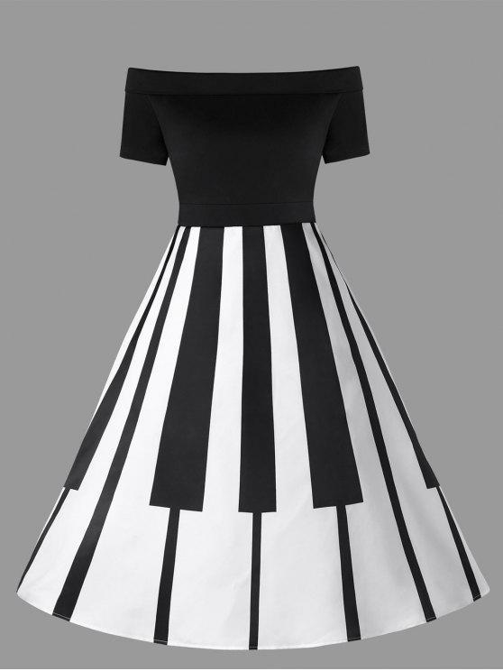 فستان الحجم الكبير طباعة توهج - أسود أبيض 5XL