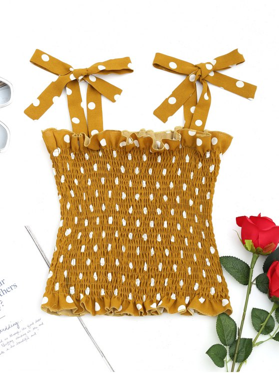 lady Polka Dot Smocked Tank Top - MUSTARD M