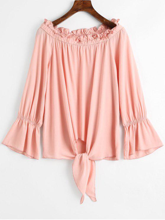 Off Shoulder Flare Sleeve Tied Hem Blouse - Rosa L