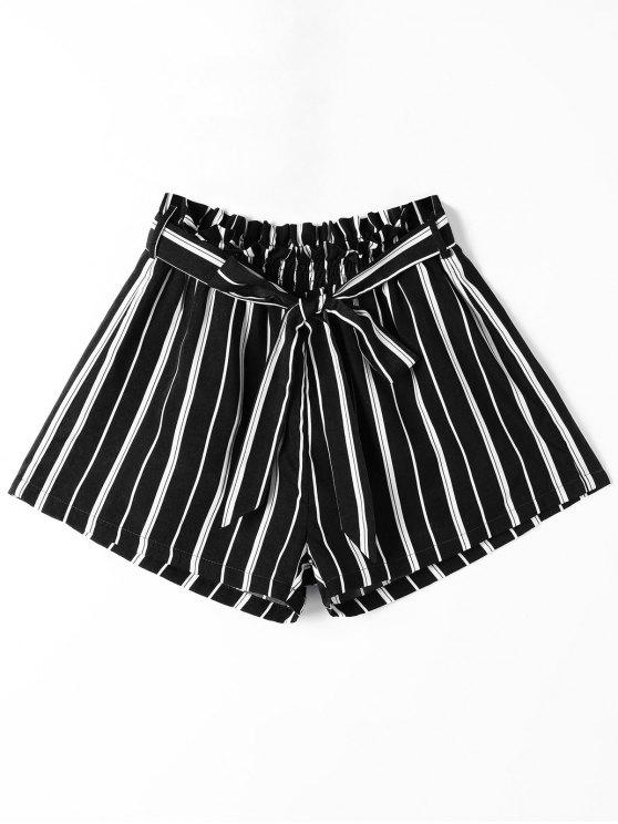 trendy Striped Wide Leg Shorts with Tie Belt - BLACK S