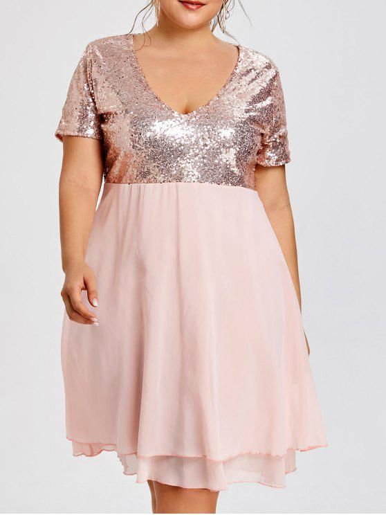Plus Size Glitter Sequin Homecoming Dress