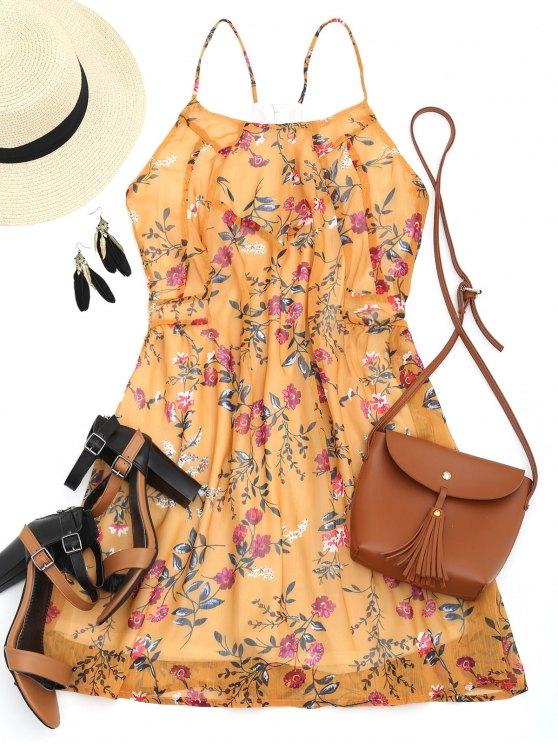 Robe Courte Florale à Dos Nageur - Moutarde XL