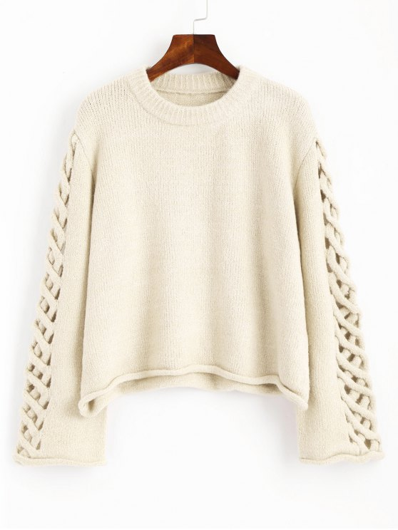 fancy Oversized Braided Sleeve Pullover Sweater - OFF-WHITE ONE SIZE