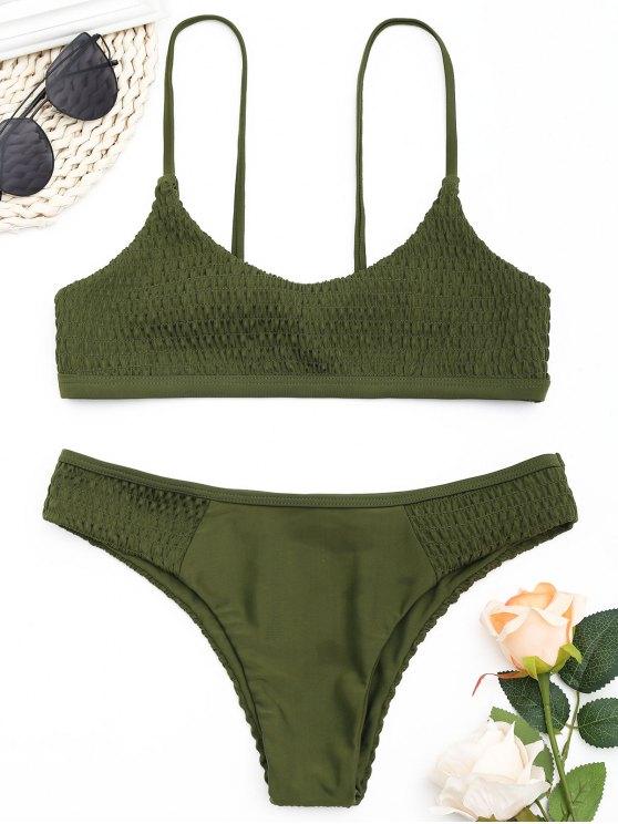 women's Scoop Smocked Bikini Set - ARMY GREEN M
