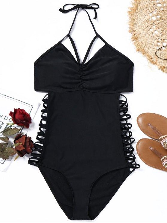 لباس سباحة بياقة رسن وأربطة بمقاس كبير - أسود XL