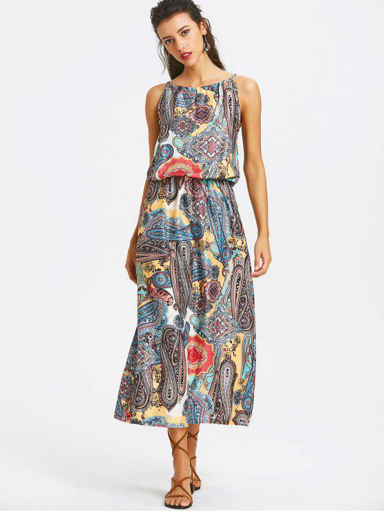 192b6e71d6a5 22% OFF  2019 Elastic Waist Printed Maxi Dress In COLORMIX
