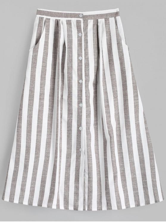 hot High Waist Button Up Striped Skirt - STRIPE M
