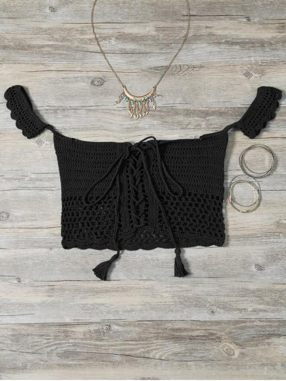 affordable Knitted Off The Shoulder Bikini Bra - BLACK ONE SIZE