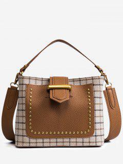 Plaid Studs Color Block Handbag - Beige