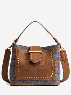 Plaid Studs Color Block Handbag - Gray