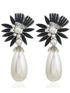 Floral Shape Color Rhinestone Faux Pearl Earrings - Black