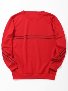 Stitching Crew Neck Sweatshirt - Red 2xl