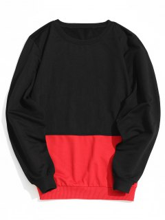 Two Tone Sweatshirt - Red With Black L