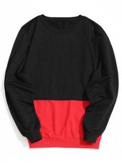 Zweifarbiges Sweatshirt - Rot & Schwarz L
