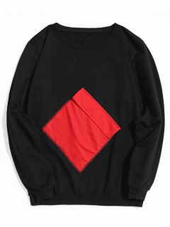 Flap Pocket Crew Neck Sweatshirt - Black L