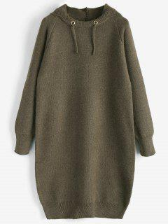 Hooded Sweater Dress - Olive Green