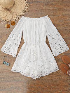 Laser Cut Off Shoulder Beach Romper - White M
