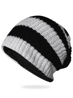 Striped Pattern Decorated Crochet Knitting Thicken Beanie - Black