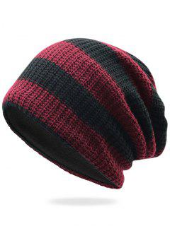 Striped Pattern Decorated Crochet Knitting Thicken Beanie - Wine Red