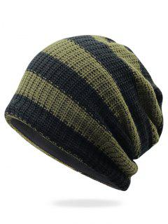 Striped Pattern Decorated Crochet Knitting Thicken Beanie - Army Green